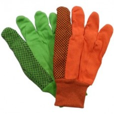 Cotton Gloves-18oz. Double Palm with PVC Dots Hi-Viz Lime Green or Hi-Viz Orange (Per Dozen)