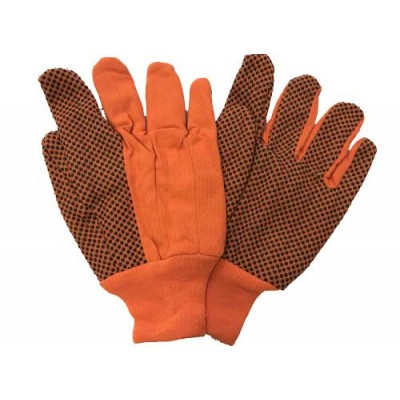 Cotton Gloves-18oz. Double Palm with PVC Dots Hi-Viz Lime Green or Hi-Viz Orange (Per Dozen)