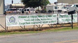Emergency crews were called to Pinnacle Truck Trailer & Rail Tuesday morning (News 4 San Antonio)