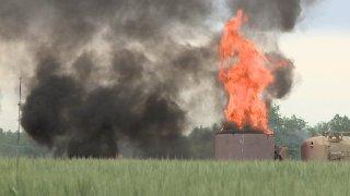 Oil Tank Fire near Mead