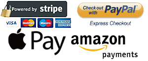 We accept Stripe-Paypal-Apple Pay-Amazon Pay as well as Credit/Debit Cards