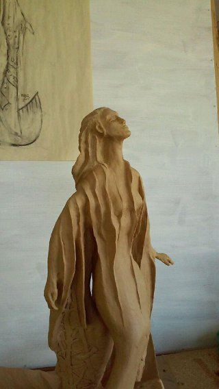 The Our Lady of the Gulf model and the full-size monument, which Robert Epstein carved in Styrofoam and will cover with liquid bronze