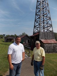 Bill Pantuso left and Dean Bauer were at the Penn Brad Oil Museum in Bradford Thursday preparing for Derrick Day activities Saturday. The annual event will be held from 11 a.m. to 5 p.m. and has free admission
