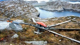 The rotors detached from the helicopter in Norway