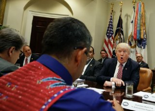 Trump meets with state and tribal leaders at the White House. PhotoEvan Vucci  AP