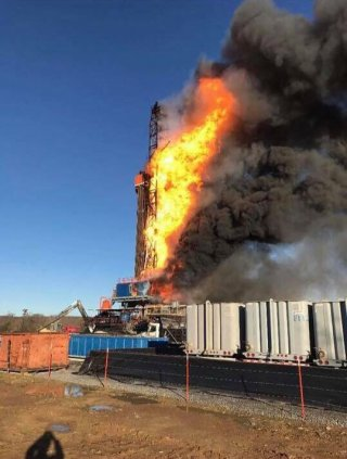 Patterson Rig #219 gas well fire thats happening now northeast of McAlester near Quinton in Pittsburg County