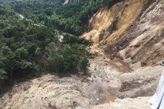 Areas affected by landslides are seen after a powerful 7.5 magnitude earthquake in Hela Papua New Guinea February 26 2018 in this picture obtained from social media