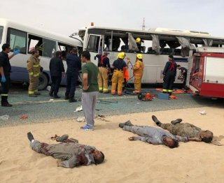 Horrific scene of the tragic accident in Kuwait on Sunday