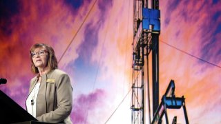 Cindy Sanford, with Job Service North Dakota in Williston, addresses the audience at the annual Williston Basin Petroleum Conference in the Bismarck Event Center on Tuesday about the state of energy related jobs in the Bakken oil patch of western North Dakota