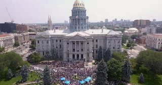 An image captured by drone of the Aug. 2 oil and gas industry rally held on the west steps the Colorado state capitol building in downtown Denver.