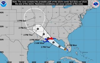 Tropical Storm Gordon is expected to make landfall as a hurricane just east of Louisiana on the central Gulf Coast the National Hurricane Center reported Monday evening Sept. 3 2018.
