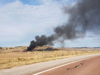 A fire at an oilfield site north of Gillette burns on Oct. 31. Authorities believe a 36yearold worker died shortly after the explosion and subsequent fire at the facility.