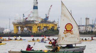 ShellNo flotilla participants float near the Polar Pioneer oil drilling rig during demonstrations against Royal Dutch Shell on May 16 2015 in Seattle Washington.