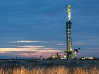A drilling rig works near the southern edge of the famous Permian Basin region of Texas