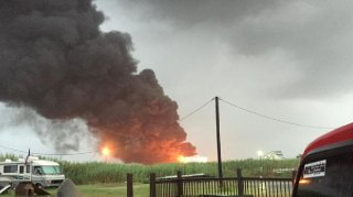 Image of the refinery fire in Texas City, Texas, Thursday morning.  (Twitter/John Bronkhorst)