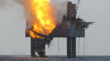 Blowout of a Walter Oil & Gas well off the central Louisiana coast on July 23, 2013. The rig, provided by Hercules Offshore, burned for 72 hours and was destroyed at a cost of nearly $60 million
