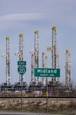 Drilling Rigs Stacked in Midland Texas
