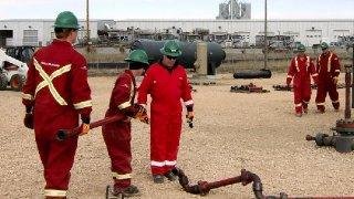 Halliburton employees receive training from Williston State College's TrainND program in February, 2012.