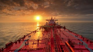 Oil tanker near Galveston, Texas, USA