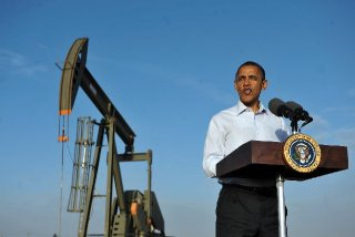 President Obama speaks at an oilfield near Maljamar, N.M, 2012.