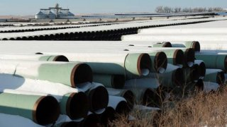 A depot used to store pipes for Transcanada Corp's planned Keystone XL oil pipeline is seen in Gascoyne, North Dakota November 14, 2014.